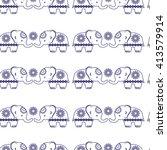 elephants. cute  seamless...   Shutterstock .eps vector #413579914
