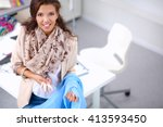 modern young fashion designer... | Shutterstock . vector #413593450