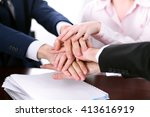 business people group joining... | Shutterstock . vector #413616919