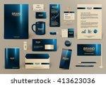 blue luxury branding design kit ... | Shutterstock .eps vector #413623036