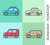 car automobile taxi cab jeep... | Shutterstock .eps vector #413631529
