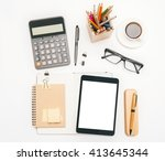 topview of office tools and... | Shutterstock . vector #413645344