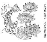 hand drawn outline koi fish ... | Shutterstock .eps vector #413645734