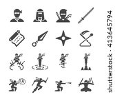ninja icons set. included the... | Shutterstock .eps vector #413645794