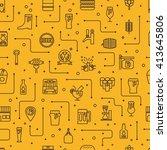 craft beer glass and bottle... | Shutterstock .eps vector #413645806