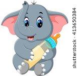 illustration of cute elephant... | Shutterstock . vector #413650384