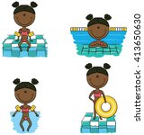 cute vector african american... | Shutterstock .eps vector #413650630