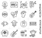 thin lines music icons set.... | Shutterstock .eps vector #413654944