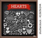 Heart Doodles On Chalk Board....