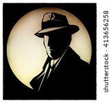 silhouette of  detective... | Shutterstock . vector #413656258