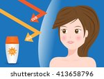 uv protection vector with model ... | Shutterstock .eps vector #413658796
