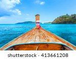 long tail boat against blue sky ...   Shutterstock . vector #413661208