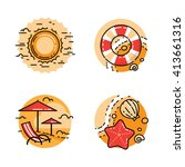 summer icon set | Shutterstock .eps vector #413661316
