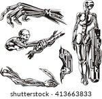 cyborgs biomechanics set. black ... | Shutterstock .eps vector #413663833