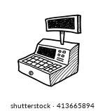 cash register doodle  a hand... | Shutterstock .eps vector #413665894