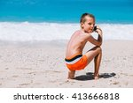 beach vacation dream. handsome... | Shutterstock . vector #413666818