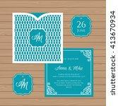 wedding invitation or greeting... | Shutterstock .eps vector #413670934
