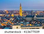 antwerp cityscape with... | Shutterstock . vector #413677039