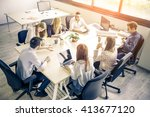 meeting of young business... | Shutterstock . vector #413677120