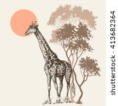 safari sunset background ... | Shutterstock .eps vector #413682364