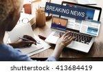 breaking news media...   Shutterstock . vector #413684419