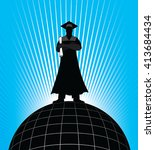 graduate   on top of the world...   Shutterstock .eps vector #413684434