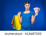 young girl with bags and bunch... | Shutterstock . vector #413687320