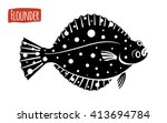 flounder  vector illustration ... | Shutterstock .eps vector #413694784
