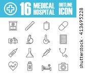set of hospital outline icon ... | Shutterstock .eps vector #413695228