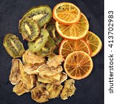 fruit chips. dried slices of... | Shutterstock . vector #413702983
