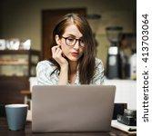 bistro break time casual coffee ... | Shutterstock . vector #413703064