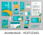 green branding design kit.... | Shutterstock .eps vector #413712163