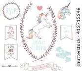 wedding invitation template... | Shutterstock .eps vector #413712346