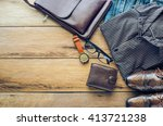 clothing for men on the wooden... | Shutterstock . vector #413721238