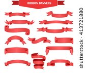 set of realistic red gradient... | Shutterstock . vector #413721880