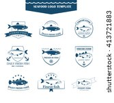 perfect set of seafood logos.... | Shutterstock . vector #413721883