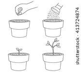 vector set of planting tree | Shutterstock .eps vector #413724874