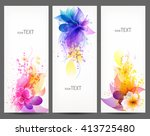 fantasy watercolor vector... | Shutterstock .eps vector #413725480