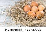 Brown Chicken Eggs In Hay Nest...