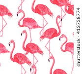 flamingo pink watercolor repeat ... | Shutterstock . vector #413728774