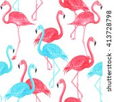 flamingo blue and pink... | Shutterstock . vector #413728798