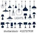 icons of lamps. flat style...