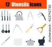 flat design utensils icon set...