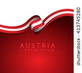 Austria Flag Ribbon   Vector...