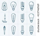 various light bulb icons set.... | Shutterstock .eps vector #413746969
