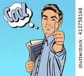 pop art happy man student with... | Shutterstock .eps vector #413758168