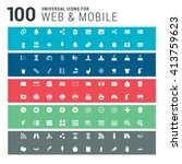 100 universal icons on colorful ... | Shutterstock .eps vector #413759623
