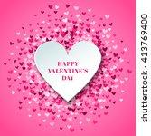 romantic pink heart background. ... | Shutterstock . vector #413769400