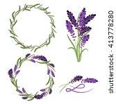 provence lavender flower... | Shutterstock .eps vector #413778280