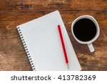 note book with pencil and a cup ... | Shutterstock . vector #413782369